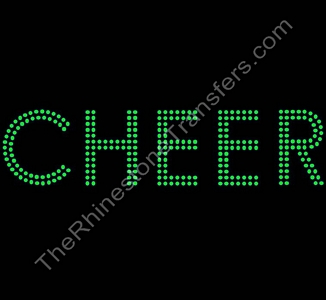 CHEER - 2 Rows - LARGE - Peridot - Rhinestone Transfer