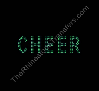 CHEER - 2 Rows of Stones - 1.8 Inches Tall - Peridot - Rhinestone Transfer