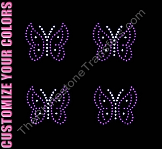 Butterfly - 4 per Sheet - CUSTOMIZE YOUR COLORS - Rhinestone Transfer
