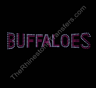 BUFFALOES - Banner Font - Siam with Clear Outline - Rhinestone Transfer