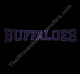 BUFFALOES - Varsity - Siam with Clear Outline - Rhinestone Transfer
