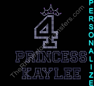 Princess - with Crown - Varsity Outline - SELECT YOUR AGE AND NAME - Rhinestone Transfer