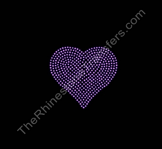 Heart - 4 Inches Tall - Pink - Rhinestone Transfer