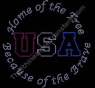 Home of the Free Because of the Brave - Rhinestone Transfer