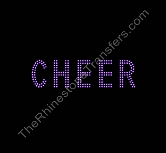 CHEER - 2 Rows of Stones - 1.8 Inches Tall - Pink - Rhinestone Transfer