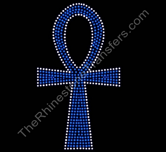 Ankh - Large - Capri Blue with Crystal Outline -  Rhinestone Transfer