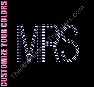 MRS - Three Rows of Stones - CUSTOMIZE YOUR COLORS - Rhinestone Transfer