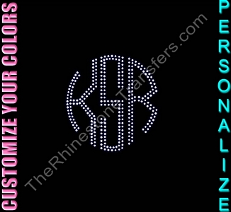 Circle Monogram - Medium - 4.5 inches - Personalized - CUSTOMIZE YOUR COLORS - Rhinestone Transfer