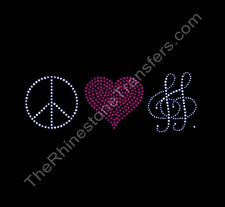 Peace Heart Music - Red Heart - Rhinestone Transfer