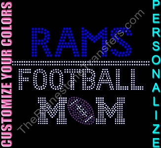 Team Name Football Mom - Personalized - CUSTOMIZE YOUR COLORS - Rhinestone Transfer