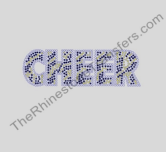 CHEER - Zebra Print - Clear Outline - Citrine and Jet Black Stripes - Rhinestone Transfer
