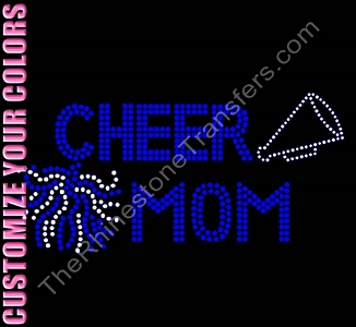 Cheer Mom - With Pom and Megaphone - CUSTOMIZE YOUR COLORS - Rhinestone Transfer