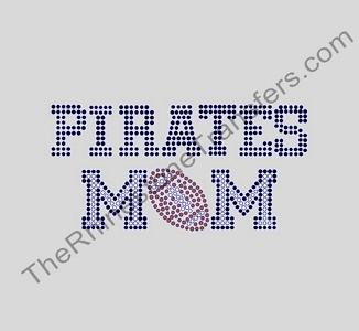 PIRATES MOM - with Football - Black - Rhinestone Transfer
