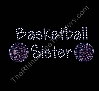 Basketball Sister - with 2 Basketballs - Rhinestone Transfer