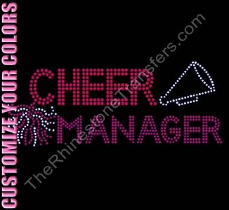 Cheer Manager - With Pom and Megaphone - CUSTOMIZE YOUR COLORS - Rhinestone Transfer