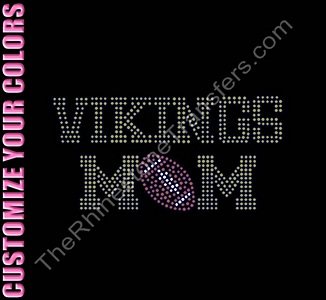 TROJAN MOM - with Football - CUSTOMIZE YOUR COLORS - Rhinestone Transfer