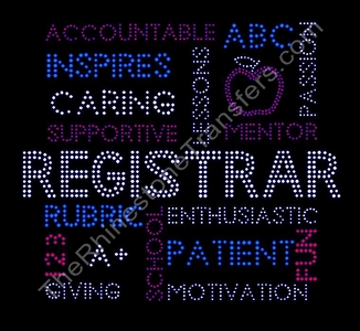 Registrar - Word Collage - Rhinestone Transfer