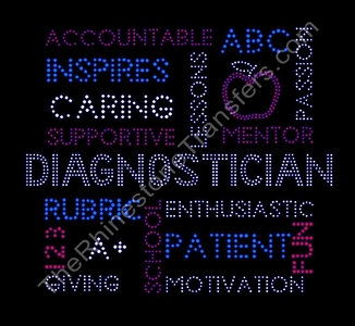 Diagnostician - Word Collage - Rhinestone Transfer