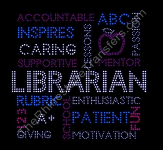 Librarian - Word Collage - Rhinestone Transfer