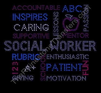 Social Worker - Word Collage - Rhinestone Transfer