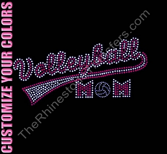 Volleyball Mom - Retro - CUSTOMIZE YOUR COLORS - Rhinestone Transfer