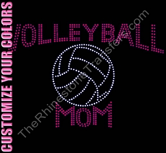 Volleyball Mom with Large Volleyball - CUSTOMIZE YOUR COLORS - Rhinestone Transfer