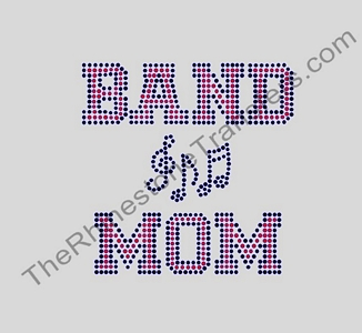 BAND MOM - with Music Notes - Rhinestone Design File Download