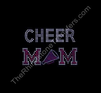 CHEER MOM - with Megaphone - Rhinestone Transfer