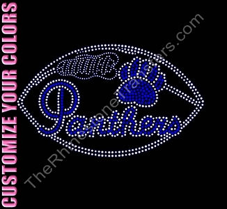 Panthers - with Paw and Footall - CUSTOMIZE YOUR COLORS - Rhinestone Transfer