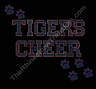 Tigers Cheer - with Paw Prints - Orange and Green - Rhinestone Transfer