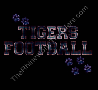 Tigers Football - with Paw Prints - Orange and Green - Rhinestone Transfer