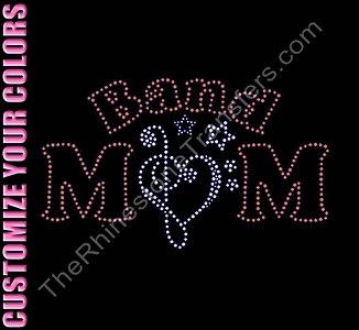 BAND MOM - with Music Notes - CUSTOMIZE YOUR COLORS - Rhinestone Design File Download