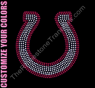 Horse Shoe - 7.0 Inches - CUSTOMIZE YOUR COLORS - Rhinestone Transfer