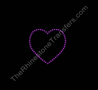 Heart - Outline - 4 Inches Wide - Pink - Rhinestone Transfer