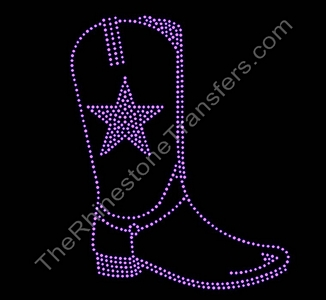 Cowboy Boot with Star- Pink - Outline - Rhinestone Transfer