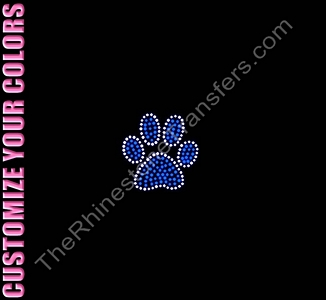 Paw Print - 2.5 Inches - CUSTOMIZE YOUR COLORS - Rhinestone Transfer