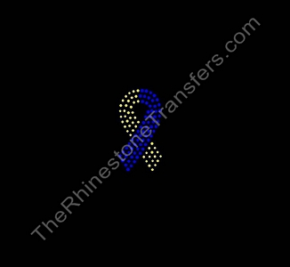 Down Syndrome Ribbon - 3 Inches - Rhinestone Transfer