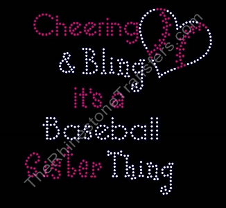 Cheering and Bling - It's a Baseball Sister Thing - With Baseball - Large - Rhinestone Transfer
