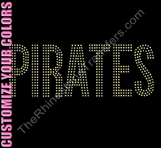 PIRATES - 3 Rows of Stones - CUSTOMIZE YOUR COLORS - Rhinestone Transfer
