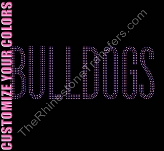 BULLDOGS - 3 Rows of Stones - CUSTOMIZE YOUR COLORS - Rhinestone Transfer