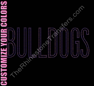 BULLDOGS - Outline - CUSTOMIZE YOUR COLORS - Rhinestone Transfer