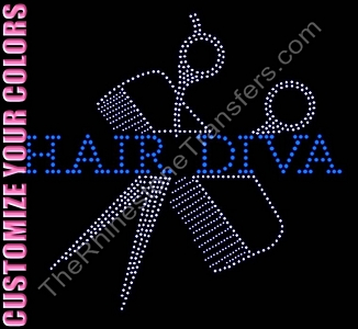 HAIR DIVA - Through Scissors and Comb - CUSTOMIZE YOUR COLORS - Rhinestone Transfer