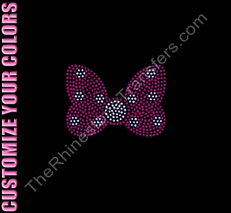 Polka Dotted Bow - 4.5 Inches - CUSTOMIZE YOUR COLORS - Rhinestone Transfer