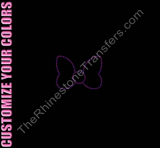 Simple Bow Outline - 3 Inches - CUSTOMIZE YOUR COLORS - Rhinestone Transfer