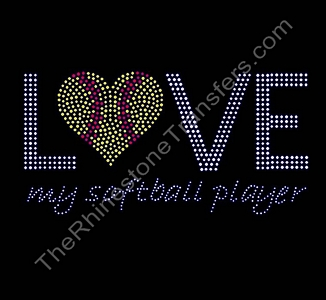 Love My Softball Player - Rhinestone Transfer