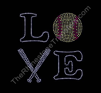 LOVE - with Softball and Bats - Custom Font - Rhinestone Transfer