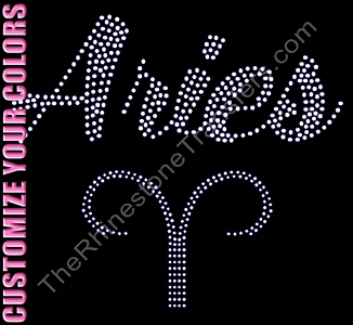 Horoscope Sign Aries - Script with Symbol - CUSTOMIZE YOUR COLORS - Rhinestone Transfer