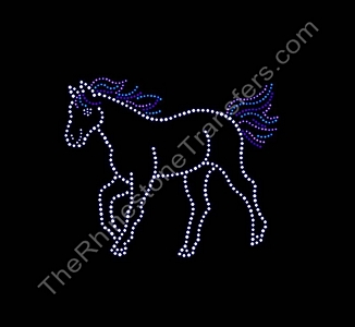 Horse With Colorful Mane and Tail - Rhinestone Transfer