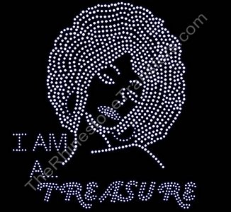 I Am A Treasure - with Girl Profile - Filled - Rhinestone Transfer