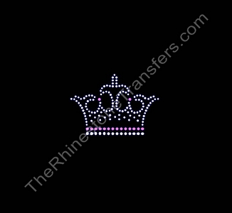 Crown - Fancy - Pink and Crystal - Rhinestone Transfer